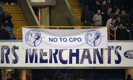 Fans protest against the CPO during the the FA Cup 3rd round match between Millwall and Bournemouth at the Den, 7 January