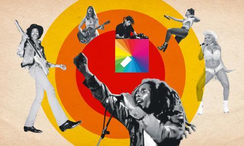 Left to right: Jimi Hendrix, Feist, Jamie xx, Bob Marley, Ari Lennox and Megan Thee Stallion.