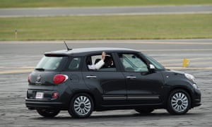 Pope Francis rides in a Fiat as he arrives in Philadelphia on the final leg of his six-day visit to the US last year.