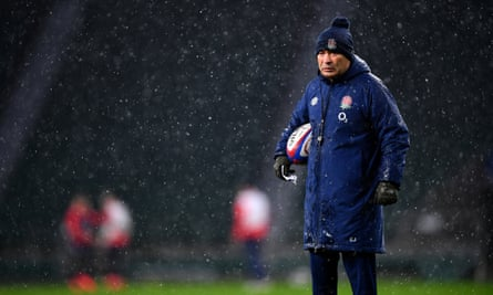 Eddie Jones, the England rugby coach, oversees training
