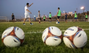 Israeli youth players from the Aroni Ariel football club attend a training session at their stadium in the Israeli West Bank settlement of Ariel.