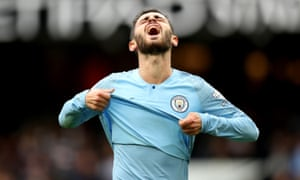 Manchester City's Bernardo Silva, who was criticised by Pep Guardiola for a glaring second-half miss against Fulham, shows his anguish.