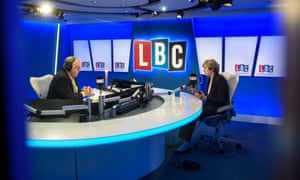 Theresa May being interviewed by Nick Ferrari on LBC.