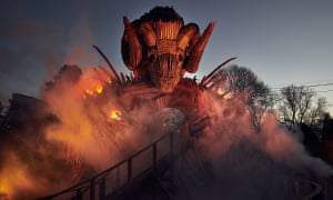 Alton Towers Wickerman<br>Embargo: 00:01 Friday 16th February 2018 Alton Towers Resort release first look images of £16m thrill attraction, Wicker Man, fusing wood with fire and launching this Spring.  For further information please contact the Alton Towers team at The Academy at joel@theacademypr.com or on 07729224771  PR Handout - free for editorial usage only. Photographer's name must remain part of credit metadata when distributed by agencies  Credit: Mikael Buck / Alton Towers Copright: ©Mikael Buck