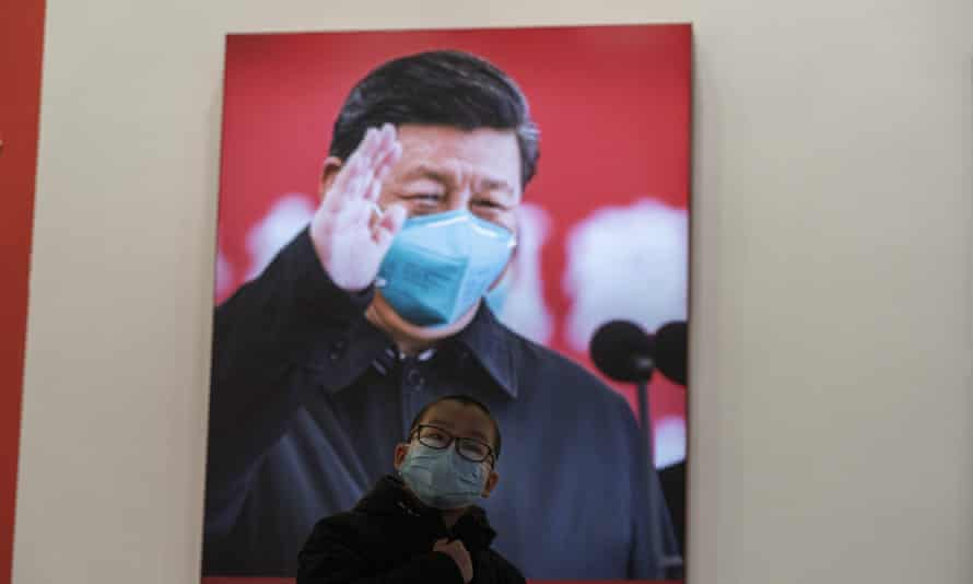 A poster of Chinese leader Xi Jinping in Wuhan. A publisher has been jailed for three years for speaking up for a professor who was critical of the president.