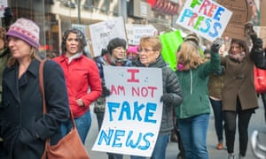 Activists rally in New York on on 26 February 2017 over President Trump's branding news that disagrees with him 'fake news'.