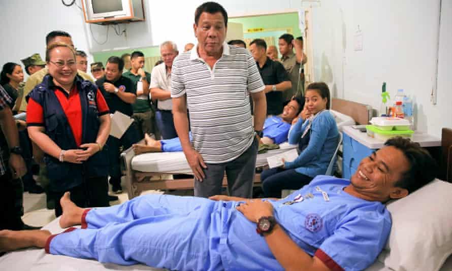 Duterte visits a hospital in Cagayan de Oro.