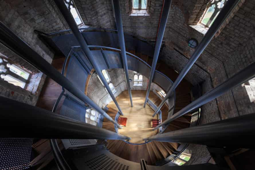 The view down through the steel staircase