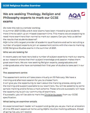 An ad seeking students to help mark the Christianity paper in GCSE religious studies