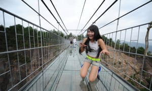 Too much for one visitor, the 180 metre high, 300 metre long bridge brings one girl to her knees.