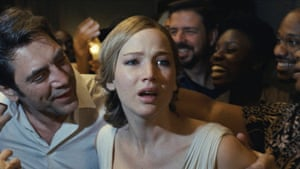 Javier Barden and Jennifer Lawrence in Mother!
