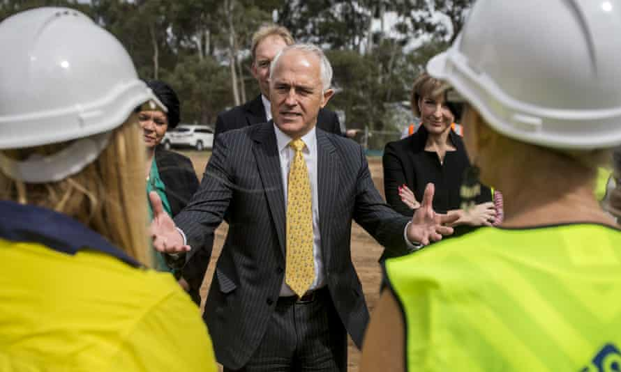 Malcolm Turnbull at a building site near Brisbane on Wednesday.