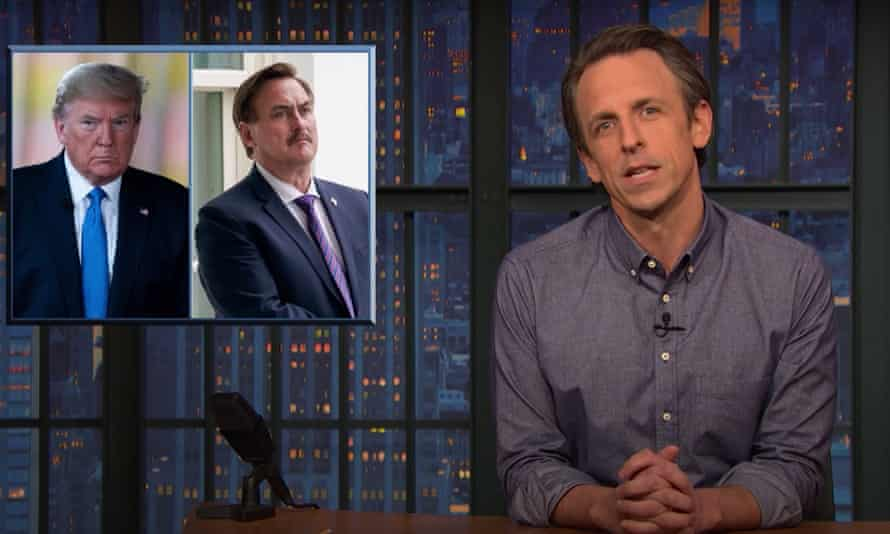 """Seth Meyers on Trump's meeting with My Pillow founder Mike Lindell, in which the pillow spokesman advocated for martial law: """"What's next, the ShamWow guy strolling in with a notepad that says 'become an X-man?'"""""""