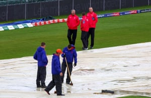 The latest pic of the umpires Richard Kettleborough, Richard Illingworth and Michael Gough inspecting the pitch.