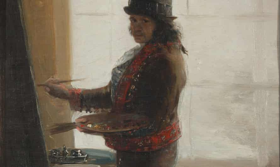 A detail from Self Portrait in the Studio by Goya