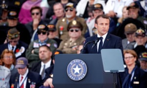 French President Emmanuel Macron speaks during a ceremony to mark the 75th anniversary of D-Day at the Normandy American Cemetery and Memorial in Colleville-sur-Mer