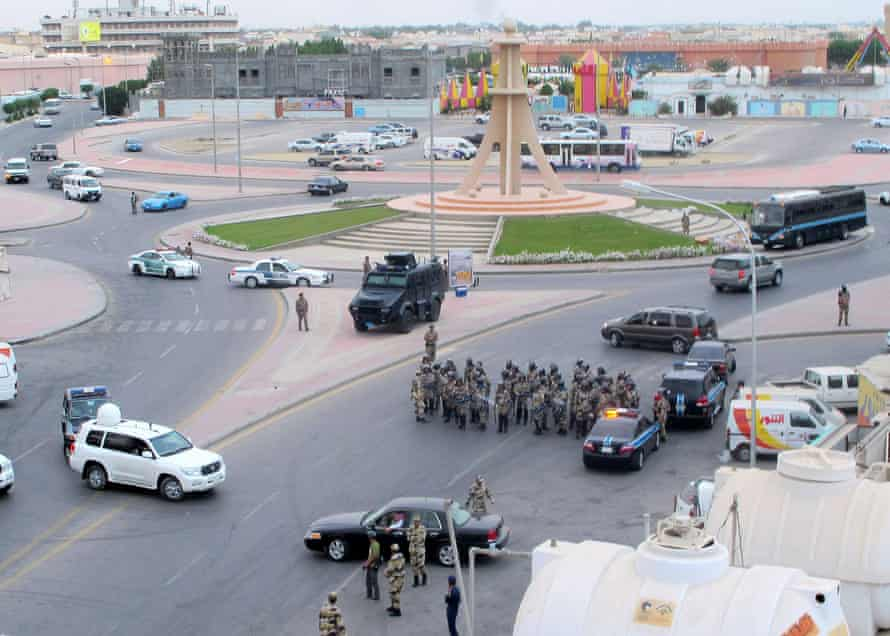 Saudi riot police gather during a demonstration in Qatif, Saudi Arabia, 11 March 2011.