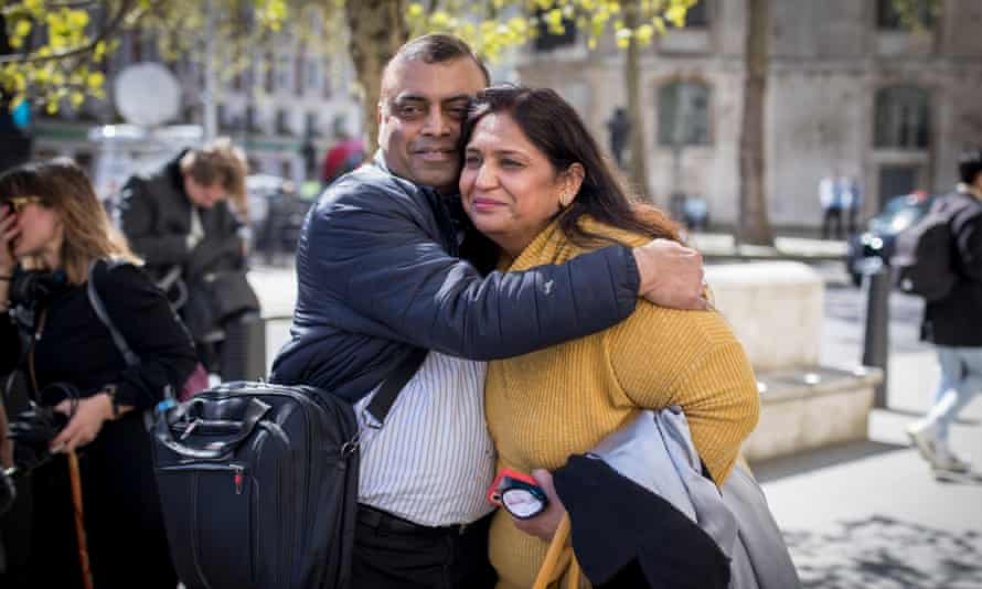 Seema Misra, a former post office operator, seen with her husband Davinder outside the Royal Courts of Justice, London