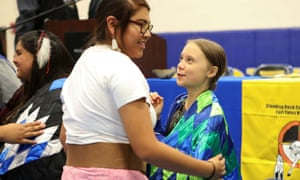 Thunberg is congratulated after speaking at a youth panel at the Standing Rock reservation in North Dakota.