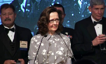 Gina Haspel speaking at the William J Donovan award dinner in Washington DC in October 2017.