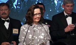 This October 2017 videograb still image courtesy of the OSS Society shows Gina Haspel, deputy director of the CIA speaking at an award dinner in Washington.