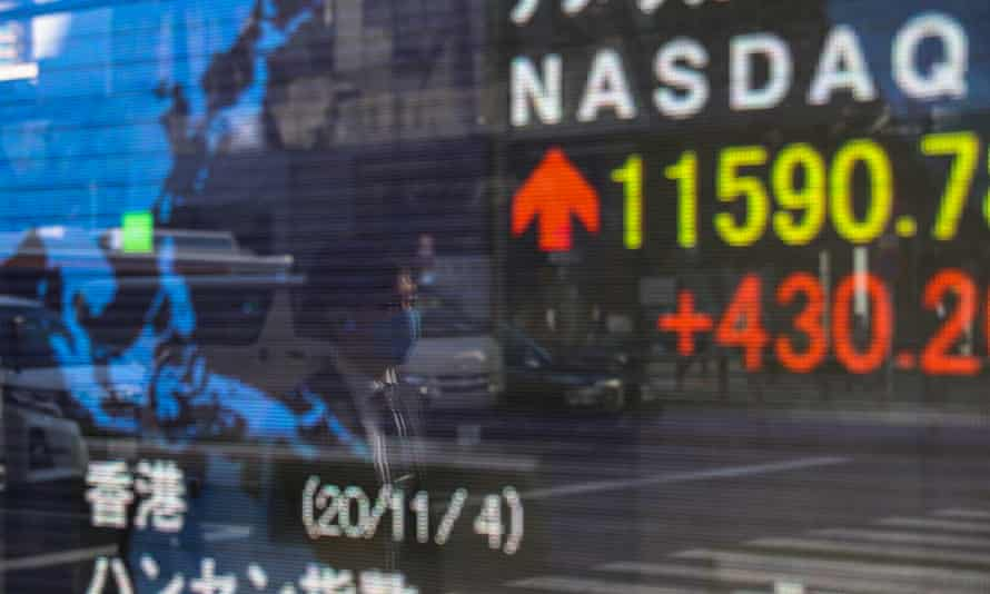 An electronic screen showing stock market information in Tokyo, Japan on Thursday.