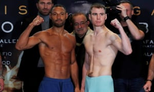 Kell Brook and Sergey Rabchenko at the weigh-in before their WBC light-middleweight title fight in Sheffield.