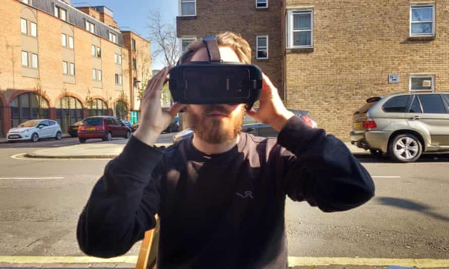 Man wears VR headset