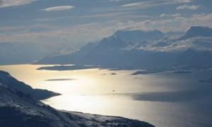 A view across a fjord in the Lyngen Alps, Norway.