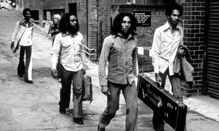 Bob Marley and the wailers arrive at Birmingham Odeon in 1974.