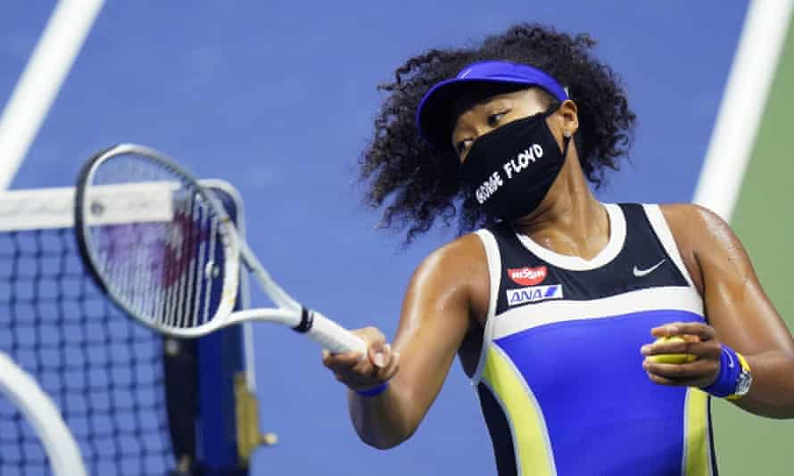 Naomi Osaka wore a mask bearing George Floyd's name before and after her victory against Shelby Rogers at the US Open.