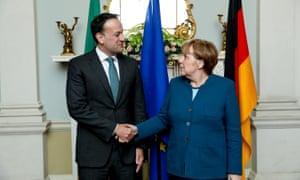 The German chancellor Angela Merkel meeting with the Irish taoiseach Leo Varadkar at Farmleigh House in Dublin.