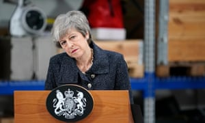 Theresa May speaking at offshore wind developer Ørsted's plant in Grimsby.