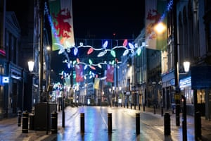An empty High Street in central Cardiff on New Year's Eve.