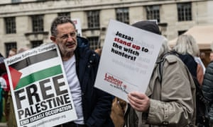 Protesters against Israeli aggression at the border with Gaza showing support for Jeremy Corbyn over Labour's antisemitism code.