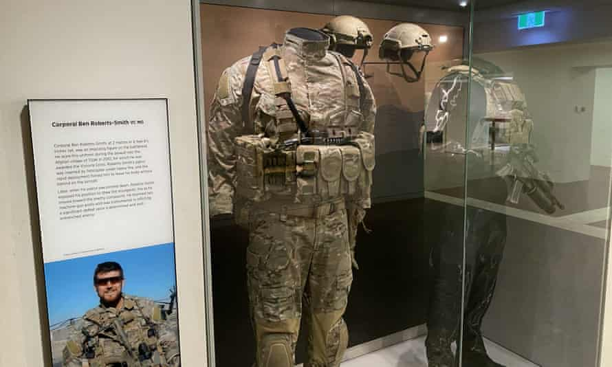 The uniforms of former SAS soldier Ben Roberts-Smith in an exhibit at the Australian War Memorial in Canberra.