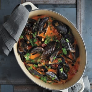 Mussels with chorizo.