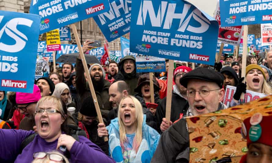 Demonstration for the NHS in London, in February 2018.