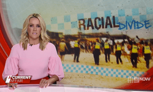 A screen grab of the A Current Affair segment on Melbourne's so-called 'race war'.