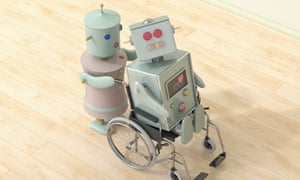 A female robot pushing a male robot in a wheelchair