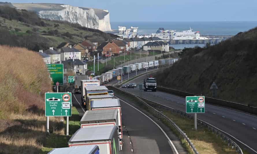 Lorries queue on the main route into the port of Dover as Brexit stockpiling, the Christmas build-up and Covid supply needs pile up.