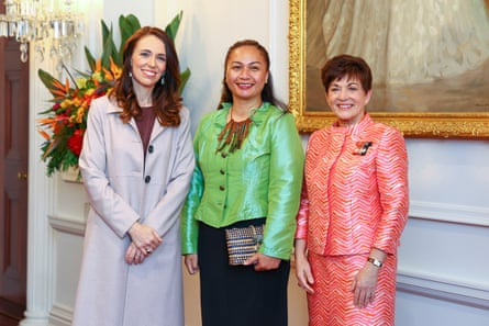 Prime Minister Jacinda Ardern, Minister for the Prevention of Family and Sexual Violence and Associate Minister of Housing (Homelessness) Marama Davidson, and Governor-General Dame Patsy Reddy pose during a swearing-in ceremony at Government House on November 06, 2020 in Wellington, New Zealand.