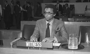 Arthur Ashe participates in a hearing on apartheid, at the United Nations in New York.