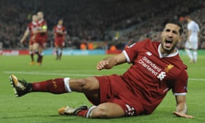 Emre Can of Liverpool celebrates scoring his sides second goal.
