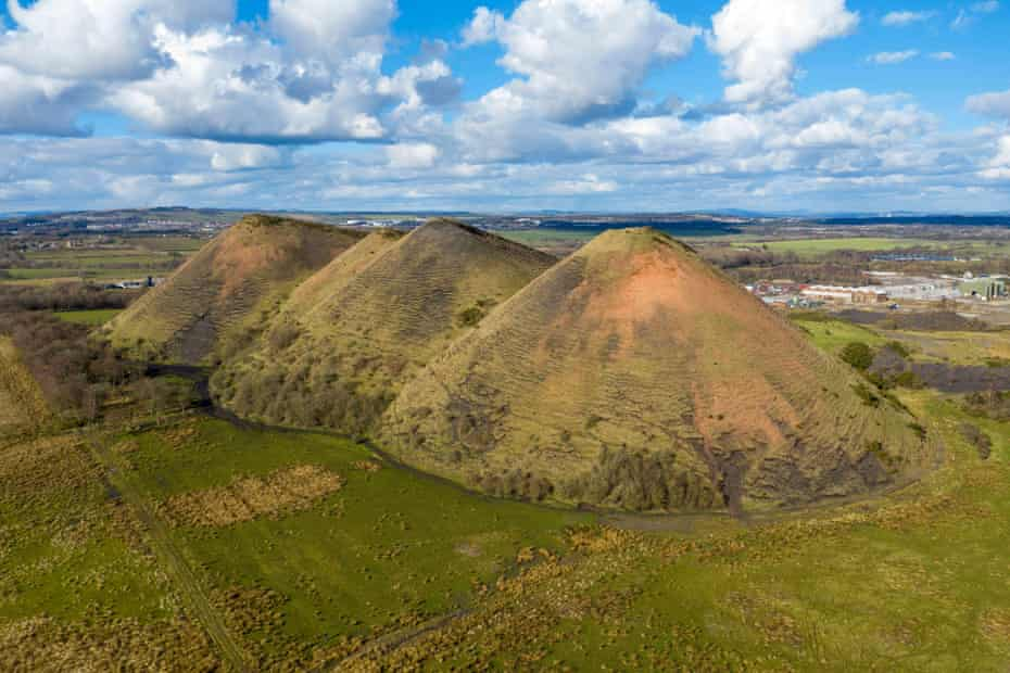 Aerial view of the Five Sisters shale bing, West Calder, West Lothian, Scotland.