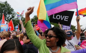 Gay rights supporters celebrate after the US supreme court decision