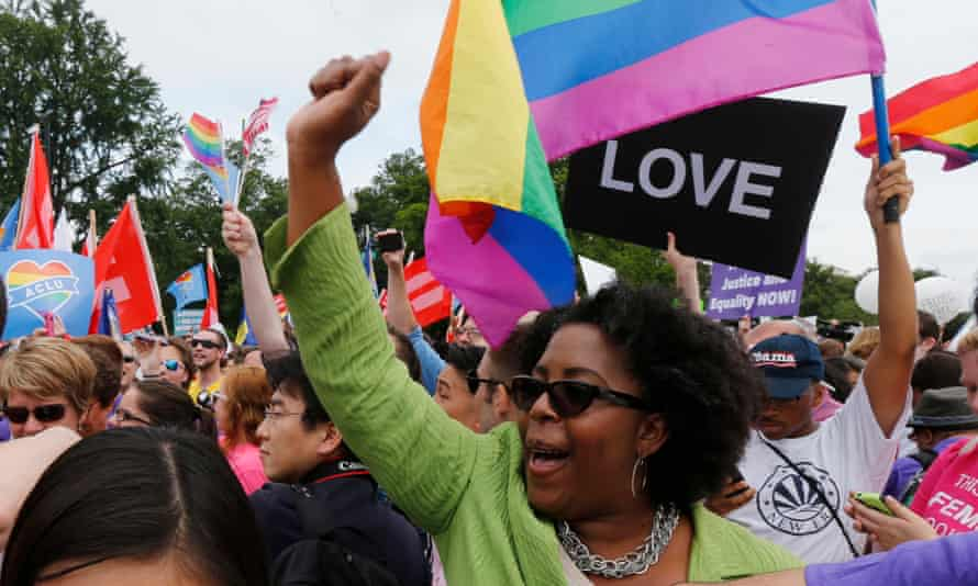 Gay rights supporters celebrate in Washington after the US supreme court ruled in favor of same-sex marriage, in 2015.