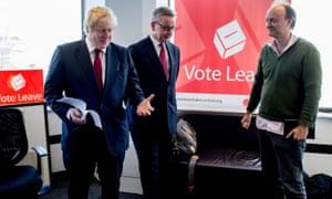 Boris Johnson, Michael Gove and Dominic Cummings at Vote Leave HQ, June 2016.