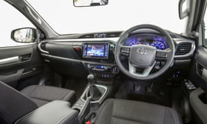 Inside story: the comfortable interior of the Hilux with its new touch screen.