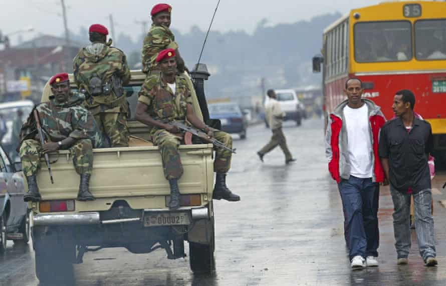 Members of the Ethiopian army patrol the streets of Addis Ababa.